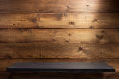 Shelf on wooden background. Wooden shelf at background texture royalty free stock photo
