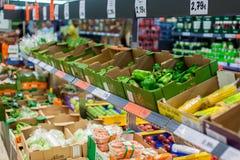 Shelfs con las verduras Fotos de archivo