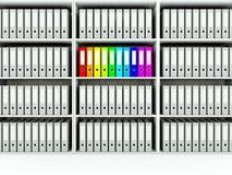 Shelfs with folders Stock Photos