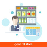 Shelfs with Food. General Store. Supermarket general store. Shelfs with food and potables near seller in flat design style. Icons on white background vector illustration