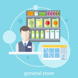 Shelfs with food. Supermarket general store. Shelfs with food and potables near seller in flat design style stock illustration