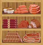 Shelfs with meat products. Royalty Free Stock Photos