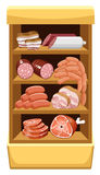 Shelfs with meat products. Stock Photos