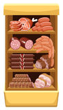 Shelfs with meat products. Stock Photo