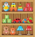 Shelfs mit Spielwaren Stockfotografie