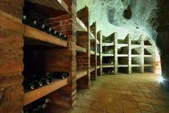 Shelfs with wine bottles Stock Image