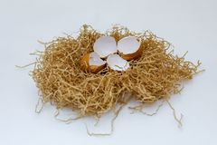 Shell των αυγών στη φωλιά στοκ φωτογραφία με δικαίωμα ελεύθερης χρήσης