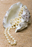 The shell. With a pearl beads lies on sand Stock Photos