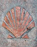 Shell. In Spain this symbol shows the right way to the final destination (Santiago de Compostela) on the Camino de Santiago route and its old town has the UNESCO stock image