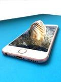 Shell in acqua sullo smartphone Immagini Stock