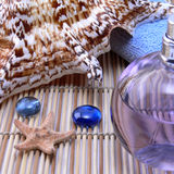 Shell and aroma oil. Massage oil, sea shell, blue towel on a bamboo background Stock Image