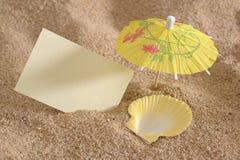 Shell as deckchair at sunny beach Royalty Free Stock Photo