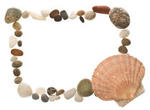 Shell and beach pebble border Royalty Free Stock Images