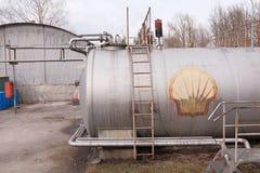 Shell benzynowy zbiornik Zdjęcie Royalty Free