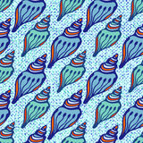 Shell blue seamless pattern. Hand drawn texture Stock Photography