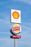 Shell and Burger King pylon. Royalty Free Stock Image