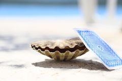 Shell & card. Shell and the playing card on the beach of the sea Royalty Free Stock Photography
