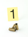 Shell casings evidence tag one Royalty Free Stock Photo