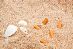 Shell and Cigarette on Yellow Sand Texture Stock Photography