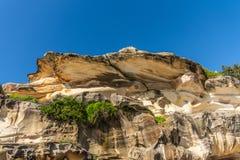 Shell comme la formation de roche donnant sur la plage de Bronte, Sydney Australia images stock