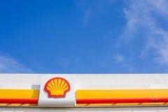 Shell company logo on its gas service station. LYON, FRANCE - FEBRUARY 26, 2019: Royal Dutch Shell plc, British-Dutch oil and gas company logo on its gas service stock images