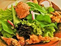 Shell Crab Salad molle un plat froid de divers mélanges des légumes crus ou cuits photo stock