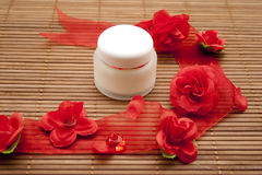 Shell cream with red loop Royalty Free Stock Photography
