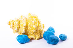 Shell del zen con la piedra azul Fotos de archivo