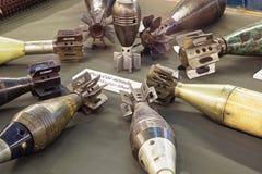 Shell do almofariz do americano 40mm na exposição nos restos Museu da guerra imagem de stock royalty free