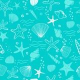 Shell do mar, seastars e fundo sem emenda dos corais ilustração royalty free