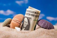 Shell do ouriço do mar e dinheiro do dólar na areia Foto de Stock