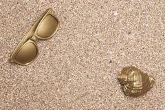 Shell dourado do mar e óculos de sol dourados Fotografia de Stock