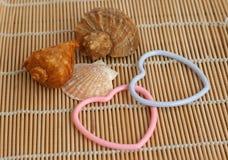 Shell e corações fotografia de stock