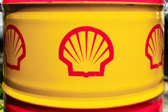 Shell emblem on the oil barrel. BERLIN - JUNE 17, 2017: Shell emblem on the oil barrel. Royal Dutch Shell Shell, is a British-Dutch multinational oil and gas Royalty Free Stock Photography