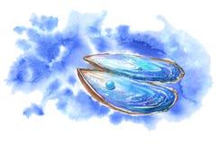 Shell en parel Abstract waterbeeld Azuurblauwe plons Stock Afbeelding