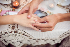 Shell with engagement ring inside Stock Photography