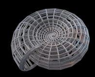Shell espiral abstracto 3d de una red de acero Fotografía de archivo