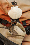 Shell et chaussure sur un sac à dos images stock