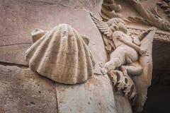Shell et peu d'ange de pierre à Salamanque, Castille y Léon photographie stock