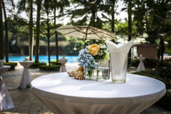 Shell Flower High foot table setting sunshine outdoor decoration stock images