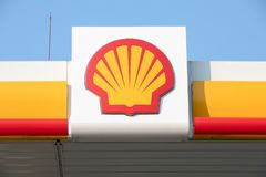 SHELL fuel and gas station. Riga, Latvia - April 24. SHELL fuel and gas station stock image