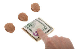 Shell game with money Royalty Free Stock Image