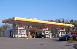 Shell gas filling station. Khmelnitsky, Ukraine - April 26, 2019: Shell gas filling station. The retail network of Shell gas stations in Ukraine stock photos