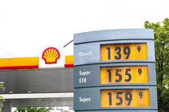 Shell gas prices royalty free stock photos