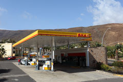 Shell gas station. In Jandia Playa, Canary Island Fuerteventura, Spain. Photo taken at 23rd of March 2011 royalty free stock images