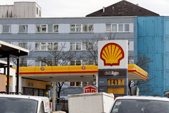 Shell gas station. Shell gasoline station in a city environment royalty free stock photography