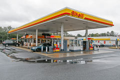 Shell gas station. Absecon, NJ, December 12, 2016: Shell gas station is seen on a cloudy day royalty free stock images