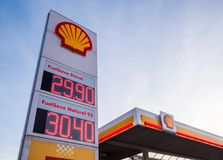 Shell gas station with an advertisement panel royalty free stock images