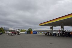 Shell Gas Station area in New Zealand royalty free stock images