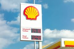Shell gas station banner with a company logo andfuels provided with their prices. ATHENS, GREECE - FEBRUARY 9, 2019: Shell gas station banner with a company logo stock photography